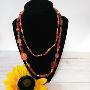 Orange 2 Stranded Beaded Necklace